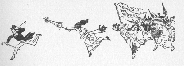 Drawing of women armed with parasols chasing one man across a blank page.