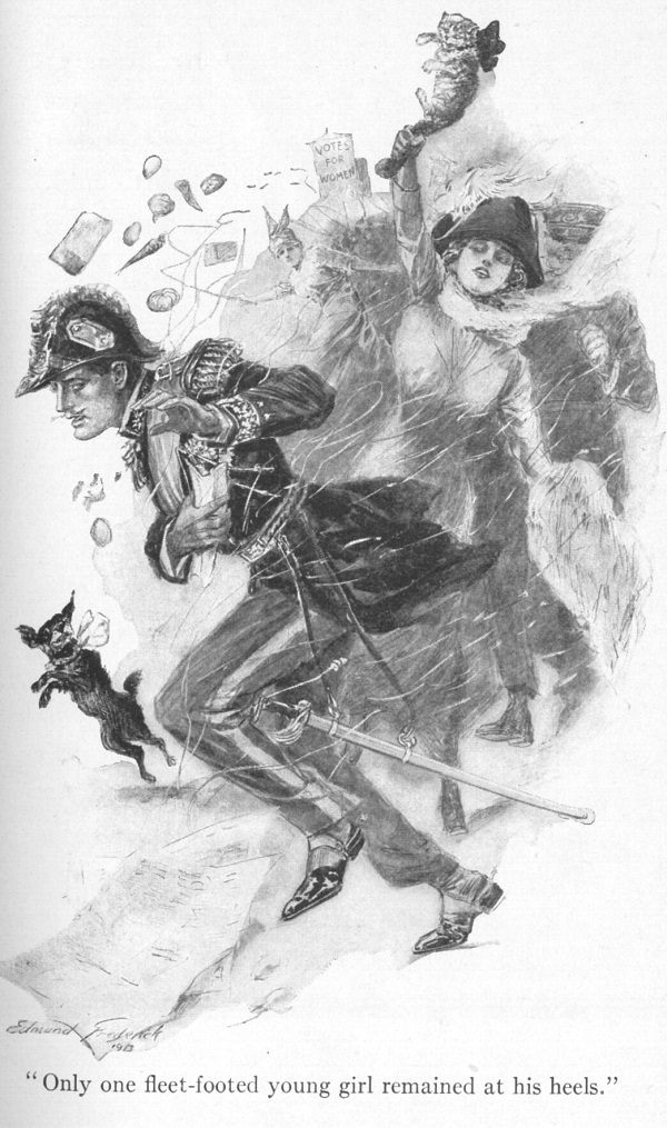 "A woman in a cocked hat waving a cat in an upraised hand chases a man in a uniform. The caption reads ""Only one fleet-footed young girl remained at his heels."""