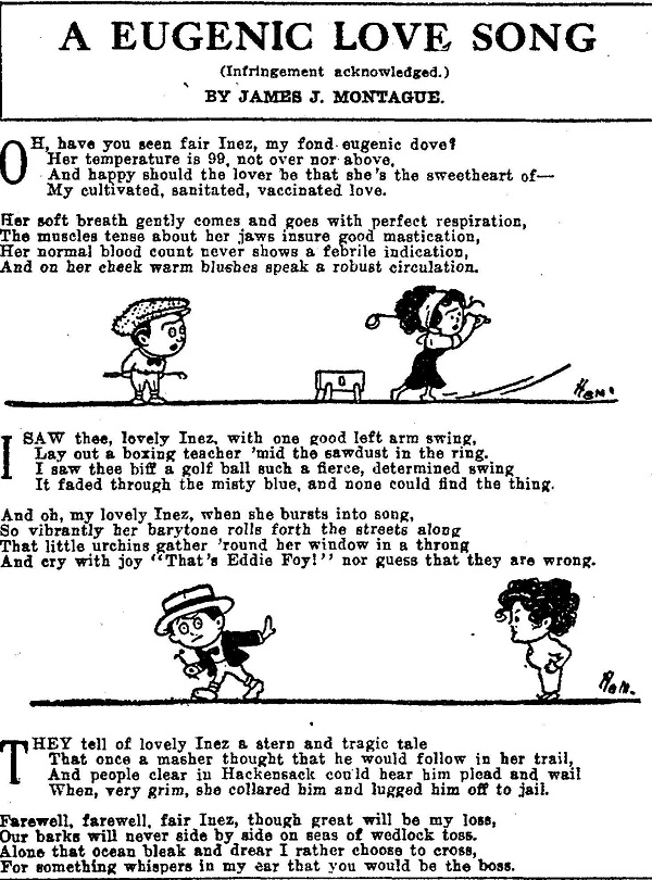 "Lyrics to ""A Eugenic Love Song"" with cartoon images of a man and woman playing golf and a man walking away from the woman interspersed with the text."