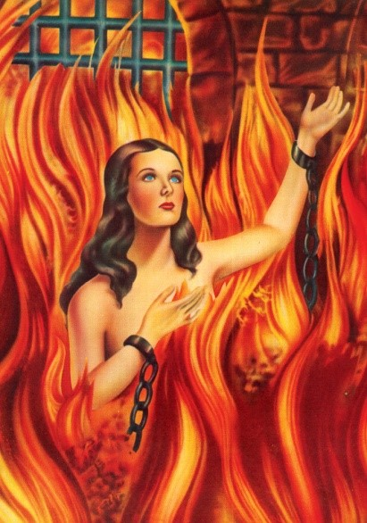 Image of the head, arms, and shoulders of a naked woman with brown hair surrounded by red and orange flames. Her wrists have chains around them.